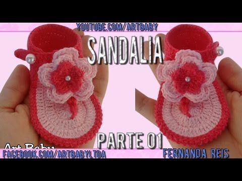 Sandalia de Croche Parte 1 - Professora Fernanda Reis - YouTube