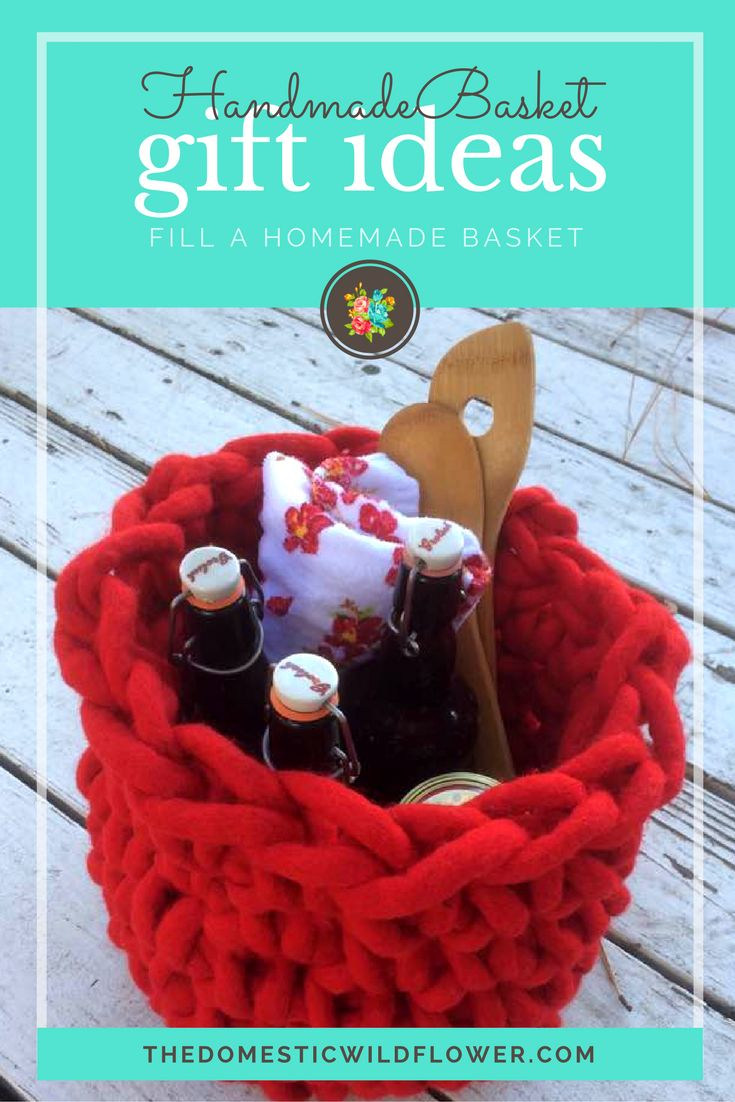 Homemade Basket Gift Ideas: Fill a homemade basket from The Domestic Wildflower Crochet this simple basket and fill with homemade goodness! Read the post for the crochet tutorial and the gift ideas!