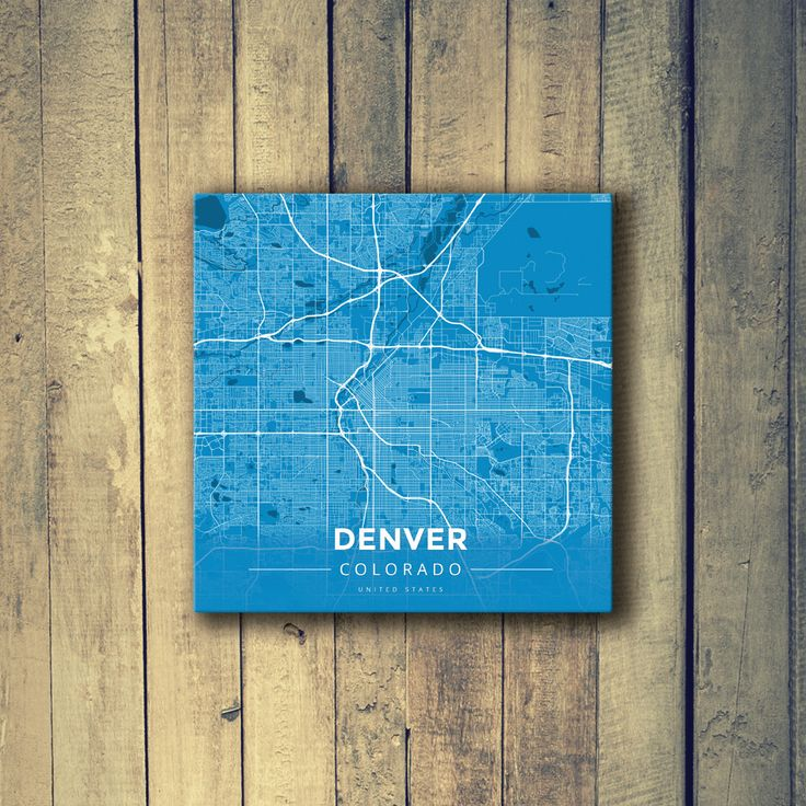 Houston Map Framed%0A Gallery Wrapped Map Canvas of Denver Colorado  Modern Blue Contrast   Denver Map Art