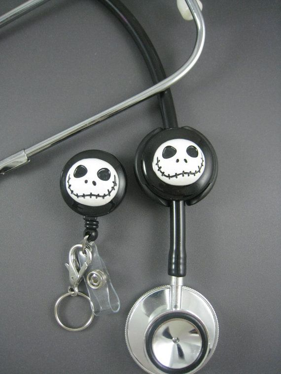 NIGHT JACK Set - RN - Stethoscope Id Tag - Retractable Id Badge Reel, Designer Badge Holder, Stethoscope, Stethoscope Cover, Id Holder, $35.00