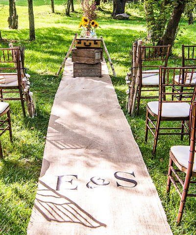 Custom Burlap Aisle Runner with initials in vintage pink, equestrian lettering