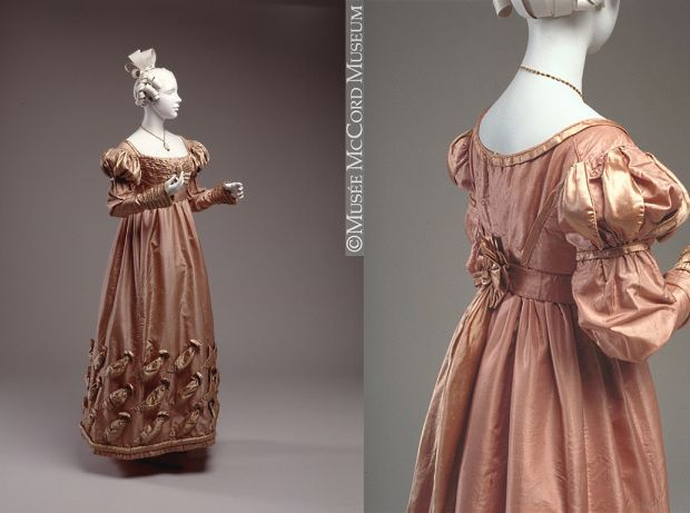 Dress, Canadian (c. 1823-1825). A old rose silk taffeta and beige silk satin gown with a cotton lining. Sewn by hand. [Source: McCord Museum] #regency #historicalfashion