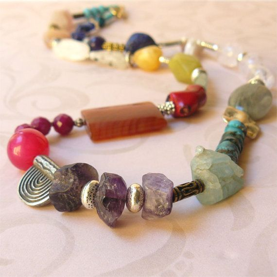 Mid length necklace various stone beads  by planettreasures
