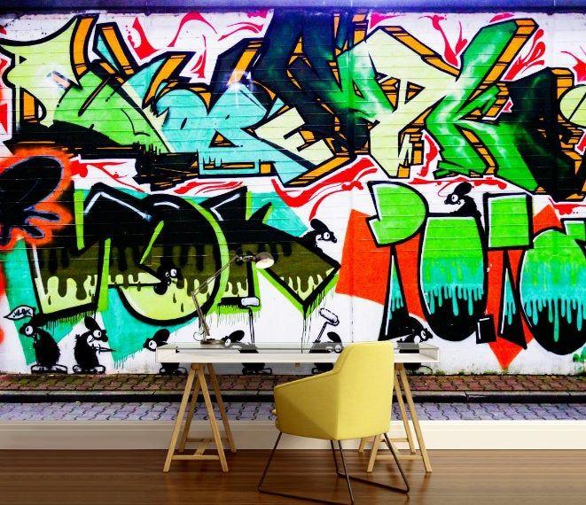 Graffiti 3d Mural Graffiti Wall Decal Graffiti Wallpaper Etsy Graffiti Wallpaper Graffiti Wall Wall Decals