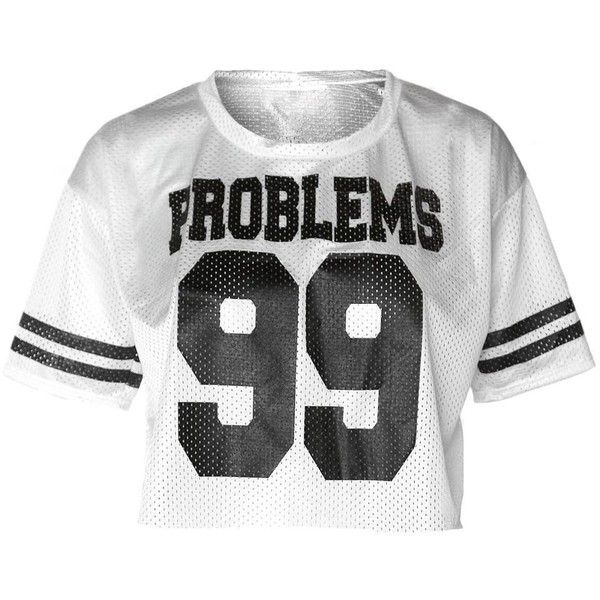 Plus Size Athletic Jersey Cropped Tee, 'PROBLEMS 99' White ($22) ❤ liked on Polyvore featuring activewear, activewear tops, athletic jerseys, plus size jerseys, white jersey, plus size activewear tops and plus size sportswear