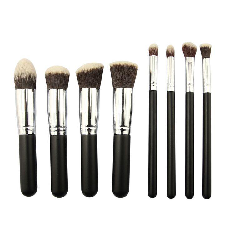 F-Dorla New 4/8/10pcs Professional Women Makeup Cosmetic Brush Set Eyeshadow Blush Brushes (8pcs, Silver+Black)