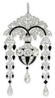 Cartier Diamond and Onyx Brooch