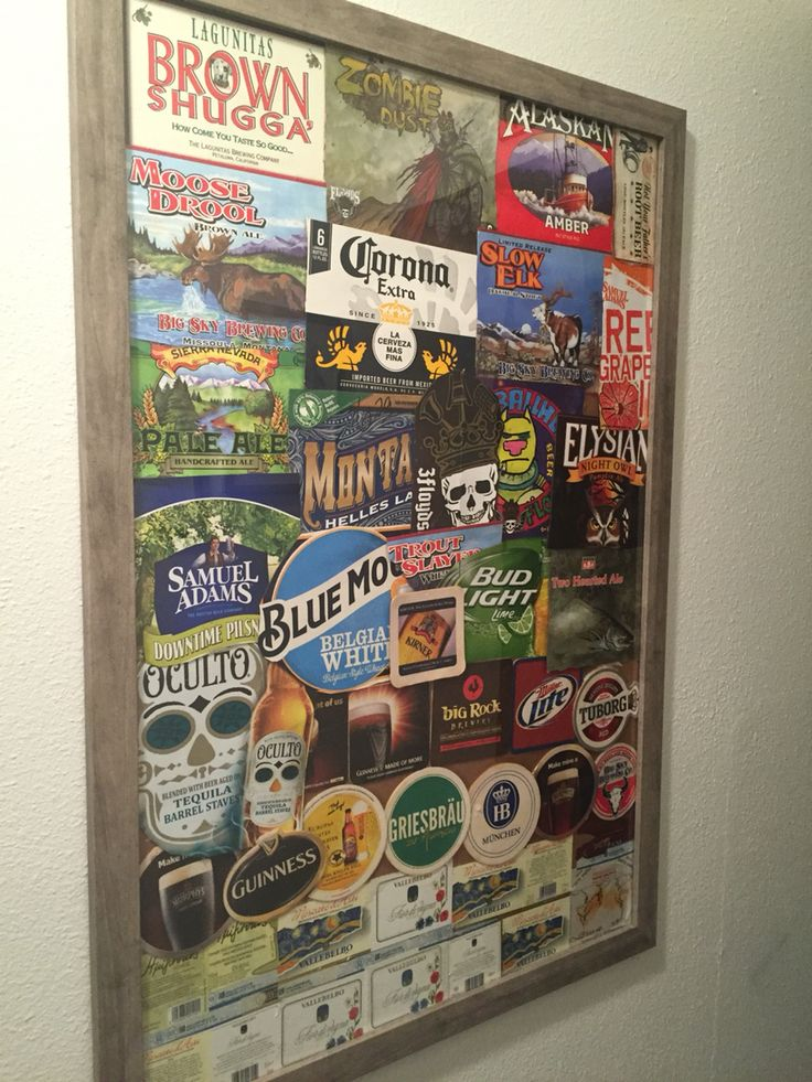 Poster collage from beer boxes, coasters, and wine labels for man cave.