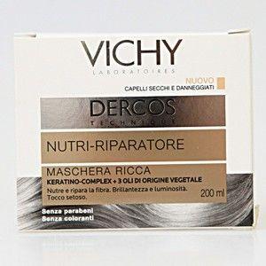 INDICAZIONI E CARATTERISTICHE Maschera per capelli secchi e danneggiati. Il capello in salute è costituito da 2 componenti essenziali per la sua integrità: cheratina e lipidi. Sotto l'effetto di agenti aggressivi esterni (spazzola, trattamenti chimici ripetuti, raggi UV…) la protezione naturale della fibra si deteriora, disperdendo questi componenti: i capelli diventano quindi secchi e danneggiati. NUOVO      I Laboratori Vichy associano per la 1°  volta la ricchezza di 3 oli vegetali e la