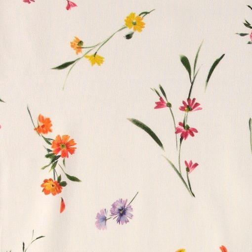 Halvpanama hvit med små blomster