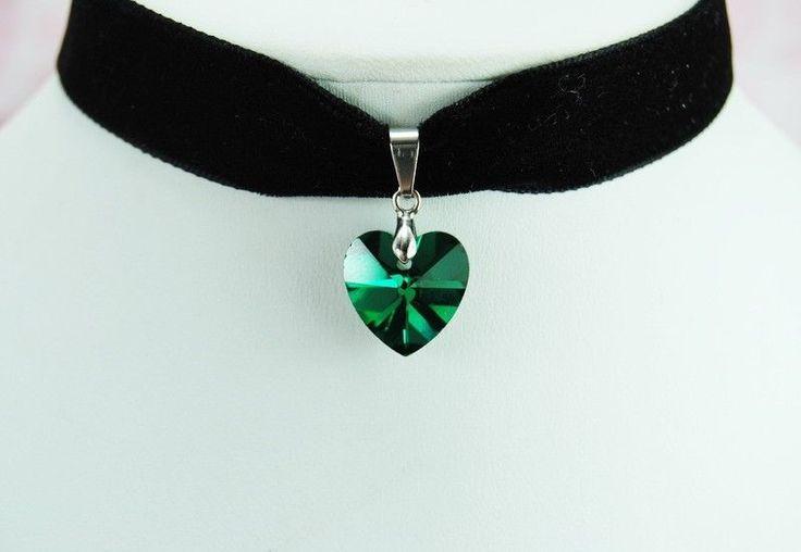 Classics Green HEART Pendant Black Velvet Ribbon Choker Necklace Gothic J81 #Choker