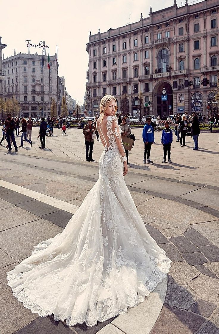 Eddy K Milano Style MD218 - Lace, Illusion-Long, Fit-n-Flare wedding dress | itakeyou.co.uk (A lot of idea dresses in this post)