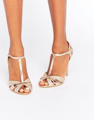True Decadence T-Bar Rose Gold Heeled Sandals