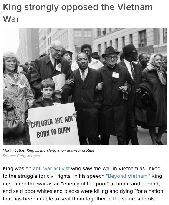 King Strongly Opposed the Vietnam