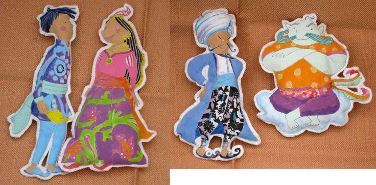 Aladdin Storysack - characters - making photo - manual - Myatt Garden Storysacks Library