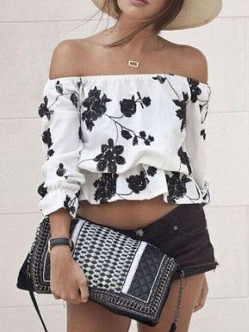 Blusa hombro al aire flores -blanco negro 12.66