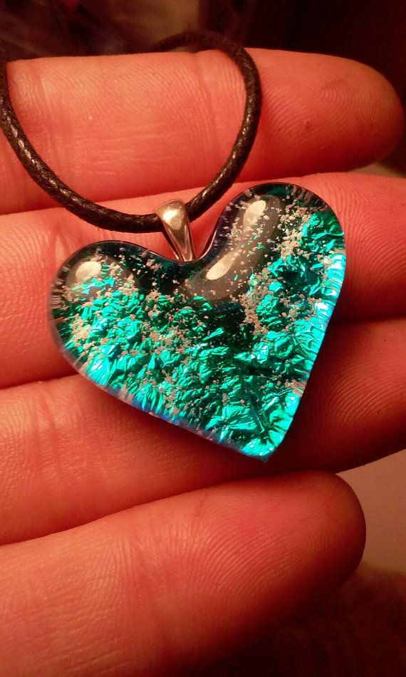 Cremation Jewelry Glass Heart Ashes InFused Glass Pet ...