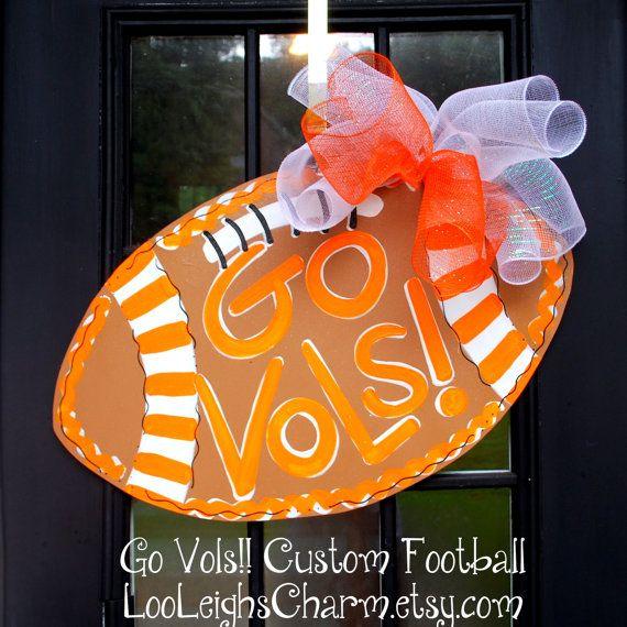 Door Hanger: Tennessee Football, Wooden Football Door Decoration, Tennessee Volunteers Football