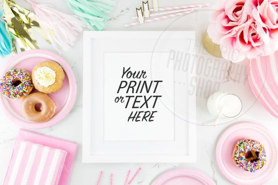 Print Background / Blank Frame / Styled Stock Photography / Product Photography / Staged #Photography / #Pink / #Gold / #Party / #Cute / P001  #Donuts