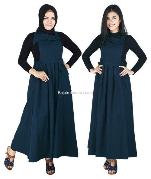 Baju muslim wanita RND 19-157 cotton biru navy L-XL. Rp...