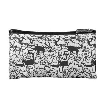 "Dogs and Cats Cartoon"" Small Cosmetic Bag - cat cats kitten kitty pet love pussy"