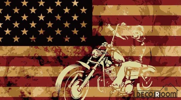 Usa Flag White 3D Motorbike Restaurant Art Wall Murals Wallpaper Decals Prints Decor IDCWP-JB-001152
