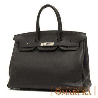 ほどよい柔らかさと質感、上品でシックなブラックカラーで作られたハンドバッグ「バーキン35」★