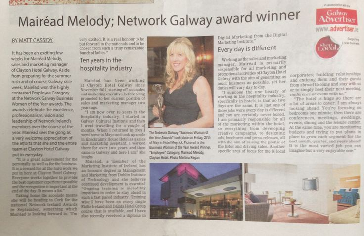Mairead Melody, Sales & Marketing Manager at Clayton Hotel Galway, and winner of the employee category at the Network Galway Business Women of the Year Awards 2016.