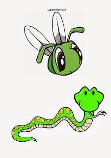 Belajar menggunting anak balita dan TK, gambar pola serangga dan ular