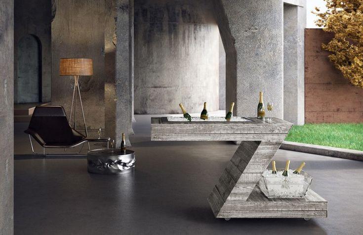 meuble multifonctionnel- bar sur roulettes avec refroidisseur à vin et champagne