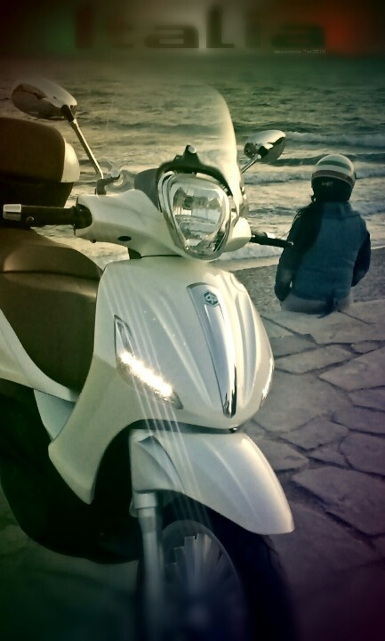 My scooter. My love. Beverly 300i 2011 and my love with the Italian helmet. Let's ride baby!