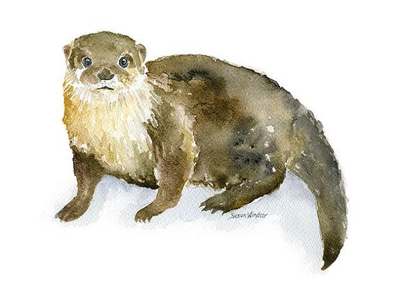 River Otter Watercolor Painting - 5 x 7 - Giclee Reproduction Fine Art Print - Nursery Art - Woodland Animal