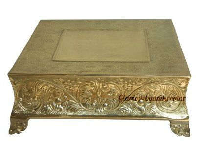Square 16 inch gold cake stand/Square by GlamourByDmkCouture