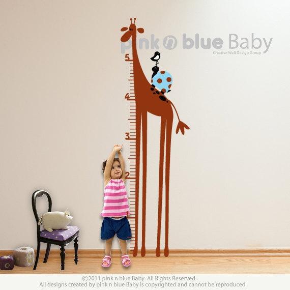 $70  Giraffe Growth Chart : Nursery Kids Removable Wall Vinyl Decal
