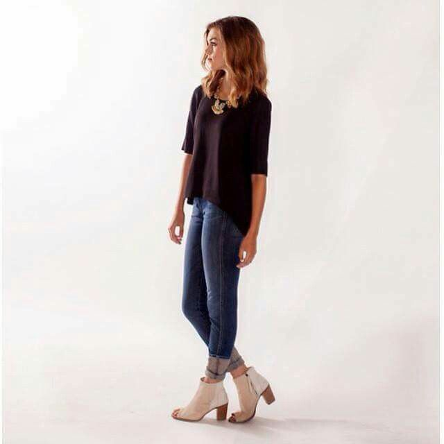jeans, simple top & ankle boots