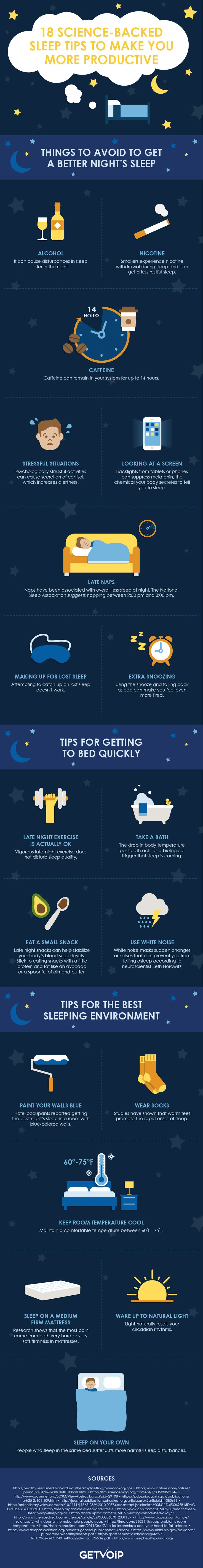18 Science-Backed Sleep Tips to Make You a More Productive #Entrepreneur #Infographic #Business #Startup