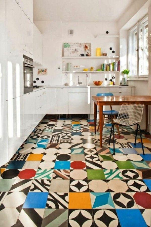 fliesen küchenboden retro fliesen fliesenfarbe