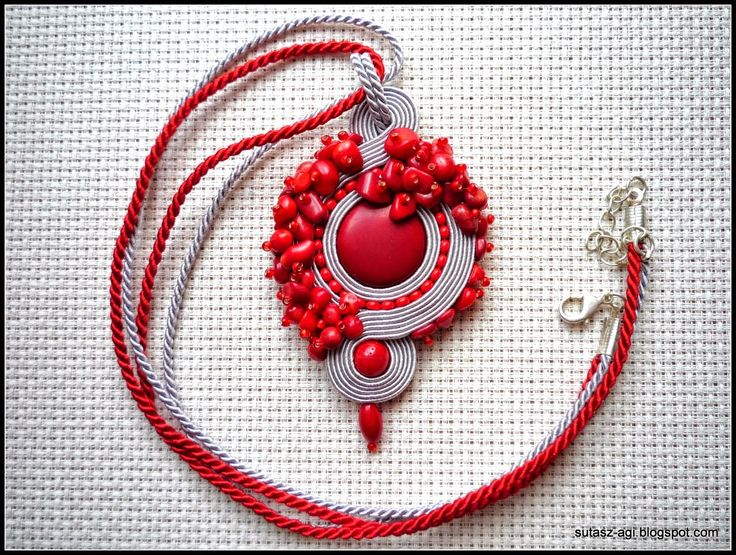 Gray&red coral soutache pendant