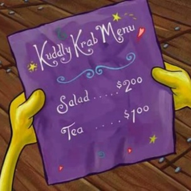 The Kuddly Krab menu from spongebob lol