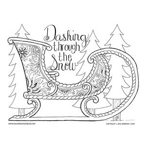Christmas Sled Coloring Page For Adults This Was Based On A Beautiful Russian