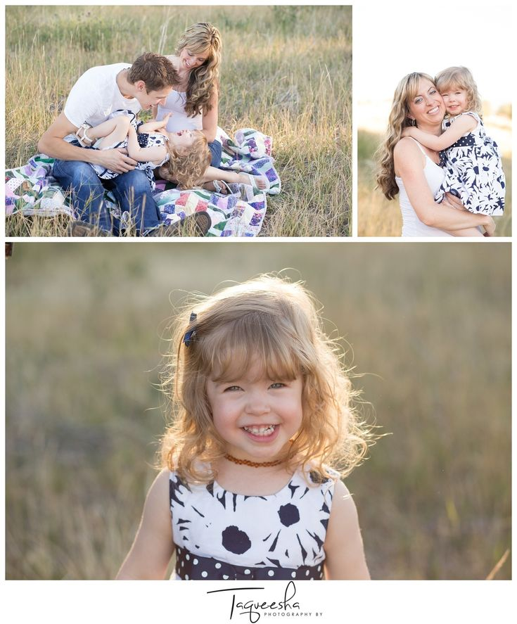 Beautiful fall family photos in a field with a family of three. Maternity family photos. Photography by Taqueesha