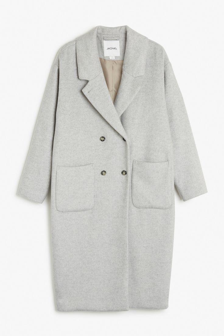 Monki Image 1 of Wool coat  in Beige Light