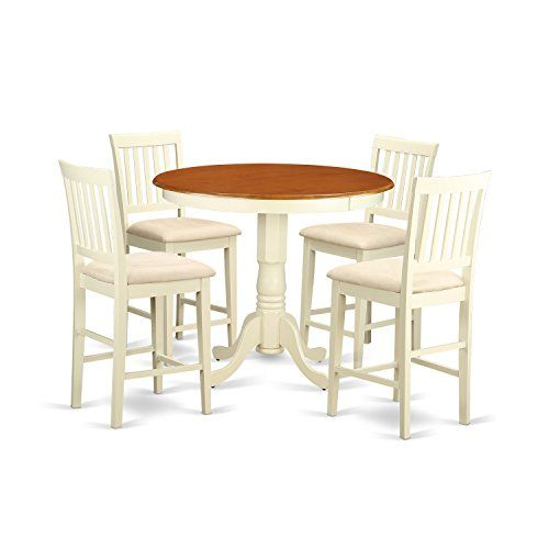 East West Furniture JAVN5 WHI C 5 Piece Dinette Table And 4 Bar Stools