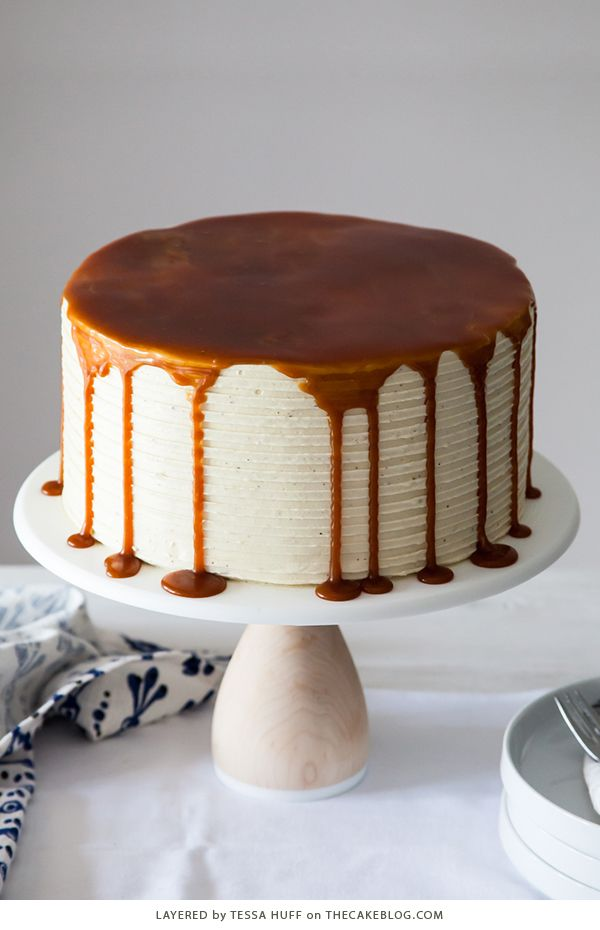 London Fog Cake. Chocolate cake with Earl Grey buttercream and salted caramel