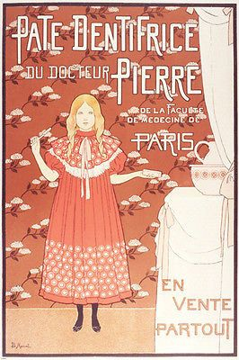 VINTAGE FRENCH DENTAL ADVERTISEMENT POSTER girl toothbrush flowers 24X36