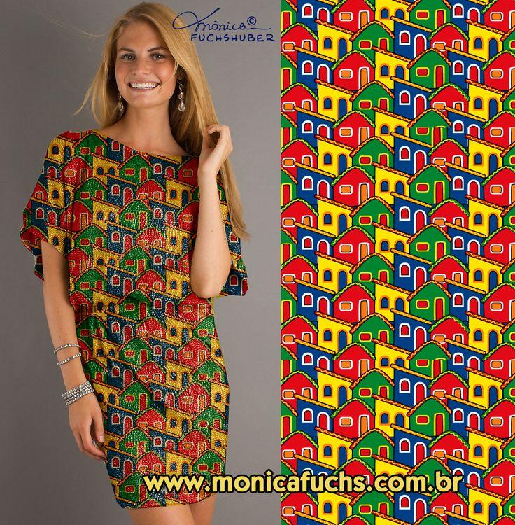 Vestido com estampa Casinhas de Olinda by Mônica Fuchshuber