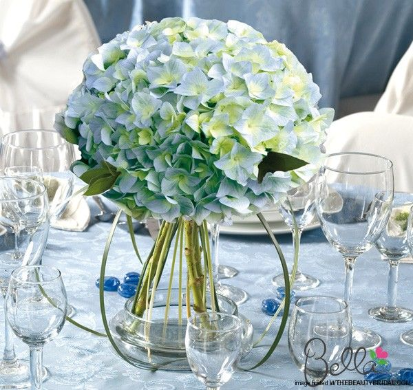 Blue hydrangeas bridesmaid bouquets or centerpieces
