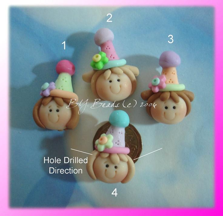 SALE Birthday Girl Polymer Clay Charm Bead Scrapbooking Embelishment Bow Center Pendant Cake Topper. $1.50, via Etsy.
