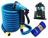 Gada Garden Hose -Expandable Water Hoses Set 8-Way Spray Nozzle  STRONG Lightweight Coil Flex Collapsible Flexible Expanding Three LAYER Latex in Pocket (50ft)