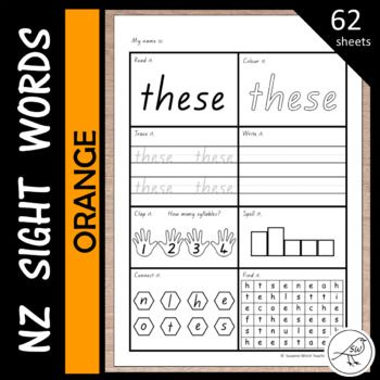 62 activity sheets for words from the ORANGE level of the NZ reading colour wheel. 8 activities on each sheet: ♦ Read it ♦ Colour it ♦ Trace it ♦ Write it ♦ Clap it (how many syllables?) ♦ Spell it (write it in the 'letter boxes') ♦